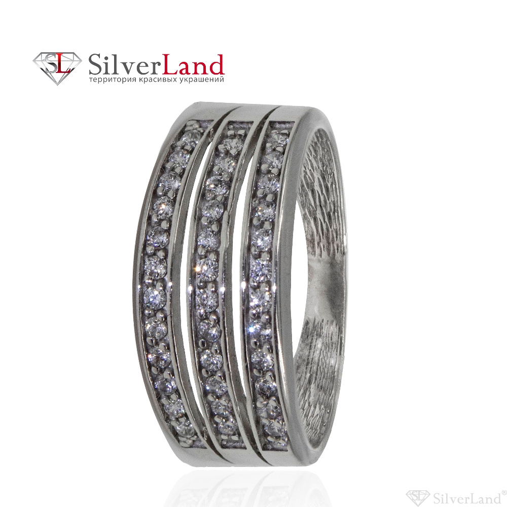 622cd35c3790 Кольцо серебряное с фианитами (куб. цирконий) дорожкой родированное Арт.  c00110