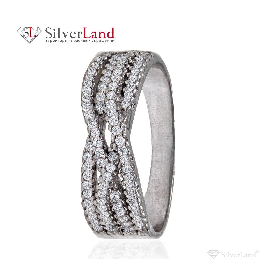 250520ca9e0b Кольцо серебряное с фианитами дорожкой родированное 925 пробы Арт. c00209