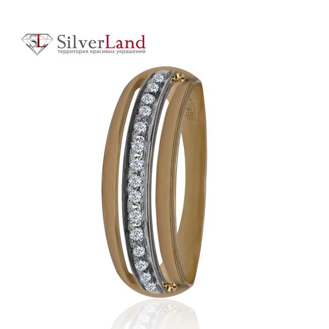 Кольцо с дорожкой бриллиантов из красного золота 585 пробы широкое Арт.  К-211 dbde9537f2e