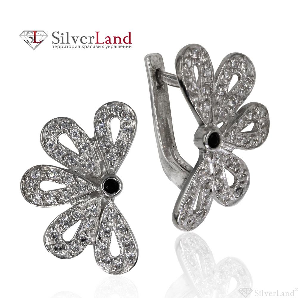 7ccb9267e844 Серебряные серьги в виде цветка с фианитами (куб. цирконий) черно-белые Арт